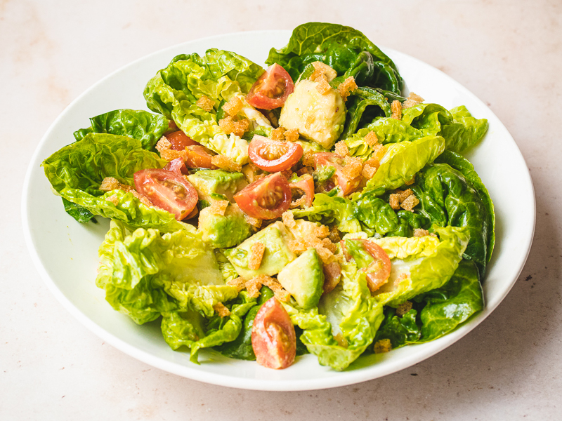 Baby Gem Lettuce Salad with Avocado, Cherry Tomatoes and Jalapeno-2-800x600